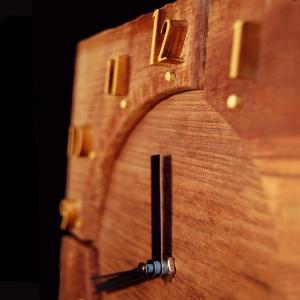 Horloge palissandre, buis, cuir